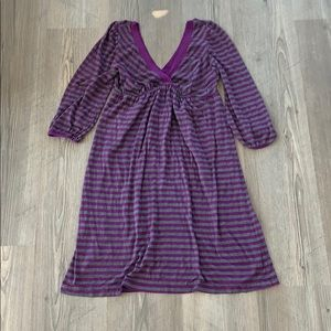 splendid v-neck striped l/s dress, purple/grey, XS